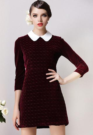 Peter pan collar dark red velvet quilted 60s style dress 10