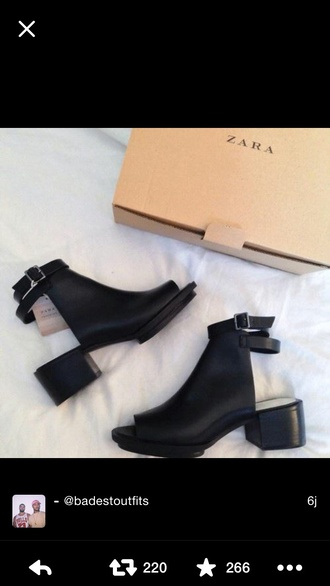 shoes zara black boots