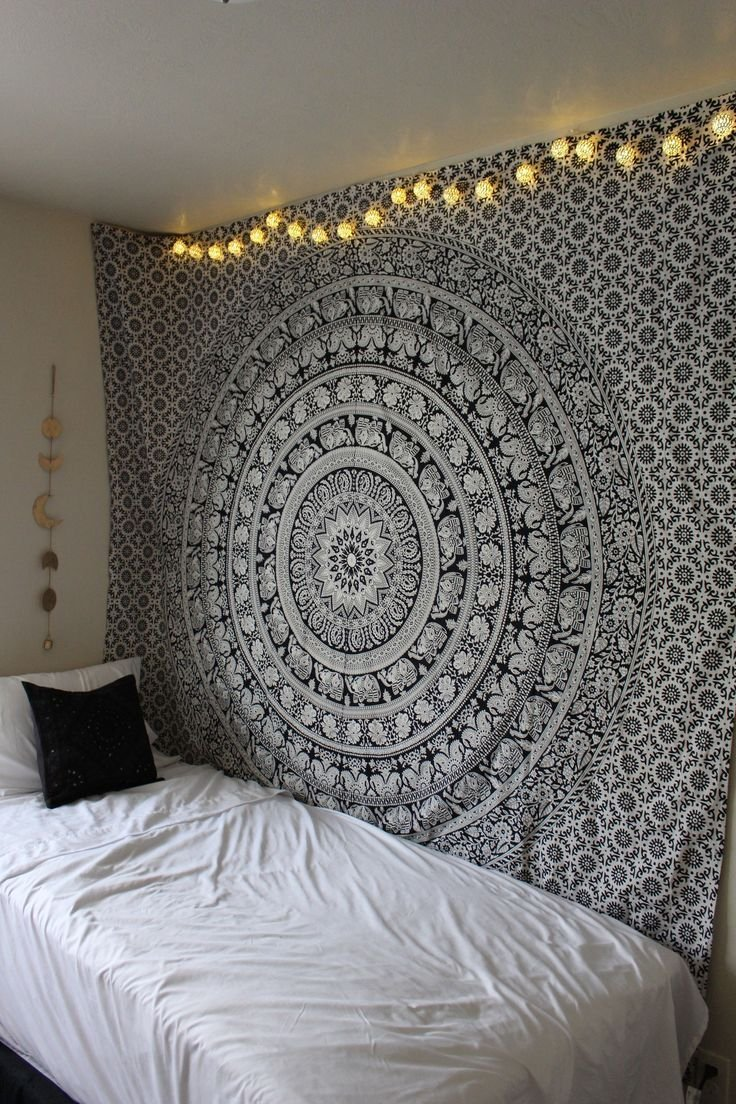 handicrunch large black and white tapestries elephant mandala hippie tapestry indian traditional. Black Bedroom Furniture Sets. Home Design Ideas