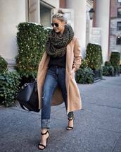 coat,tumblr,camel,camel coat,knitted scarf,scarf,infinity scarf,denim,jeans,blue jeans,sandals,sandal heels,high heel sandals