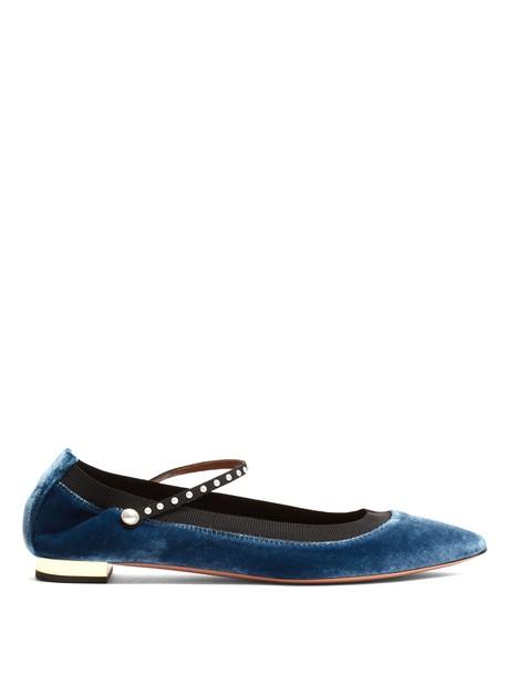 flats velvet blue shoes
