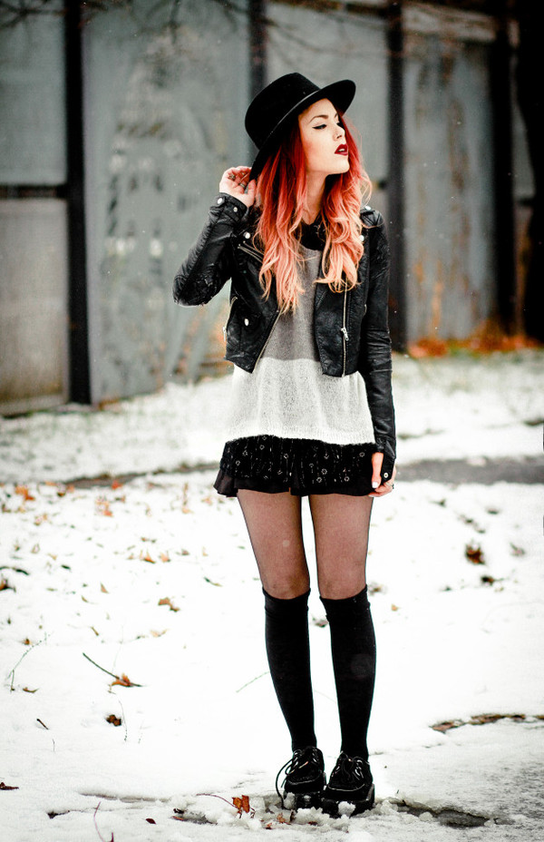 le happy sweater blouse bag jacket hat shirt grunge grunge shoes black winter outfits dress