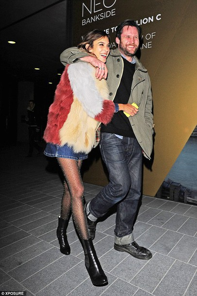 alexa chung fur coat fur streetstyle winter coat black boots coat shoes big fur coat denim skirt blue skirt mini skirt menswear boots tights patchwork