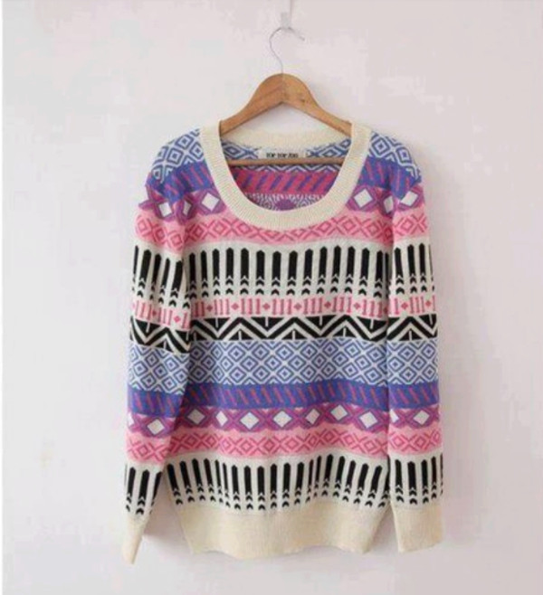 sweater black cream purple pink pullover aztec shirt clothes oversized sweater multicolor pattern winter sweater cute and cozy color/pattern colorful beautiful cute tumblr style fashion taste lovely winter outfits weather nice pretty violet white knitwear tribal pattern laine cardigan outfit aztec sweater swag girly
