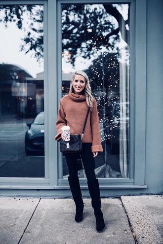 krystal schlegel blogger jeans shoes jewels bag turtleneck sweater brown sweater crossbody bag louis vuitton bag boots