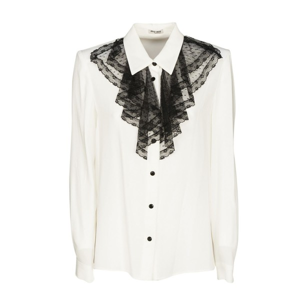 Miu Miu shirt ruffle shirt ruffle white black top