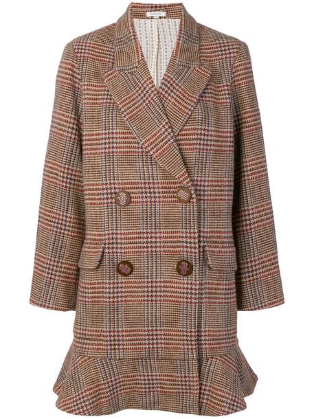 Manoush blazer double breasted women cotton wool brown jacket