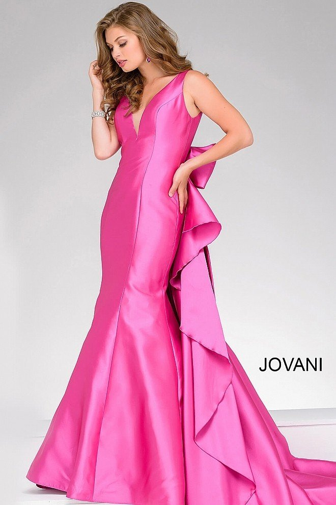 Jovani 41644 Mermaid Gown with Dramatic Bow