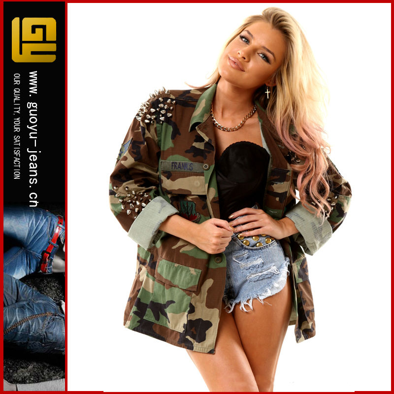 Wholesale Women Studded Vintage Camouflage Denim Jacket (gy W032) - Buy Camouflage Denim Jacket,Wholesale Denim Jackets,Women Denim Jacket Product on Alibaba.com