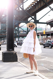 dress,tumblr,mini dress,ruffle,ruffle dress,sleeveless,sleeveless dress,white dress,hat,sun hat,sunglasses,espadrilles,shoes