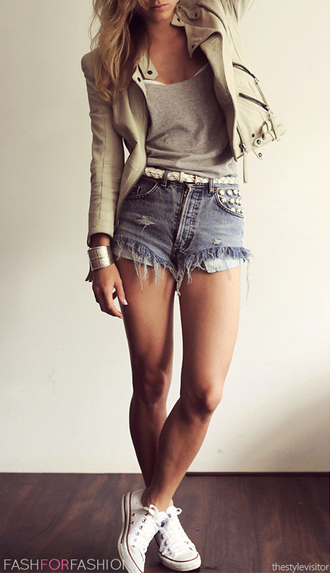 shirt jacket top shorts spring summer fashion studs denim model studded shorts distressed denim shorts trashed shorts rock chic nude leather jacket short shorts grey t-shirt high waisted high waisted shorts grey white leather