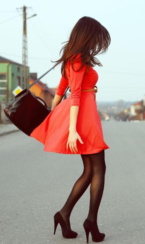 fashion style dress high heels tights pantyhose bag purse prada