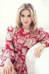 dress,floral,red dress,editorial,ashley benson