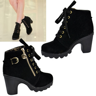 platform shoes woman boots heels lace up shoes