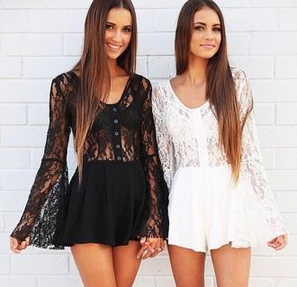 romper dress jumpsuit black white women summer lace dress