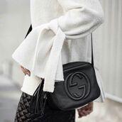 bag,tumblr,black bag,tassel,gucci,gucci bag,sweater,white sweater,bell sleeves,bell sleeve sweater,skirt,black skirt