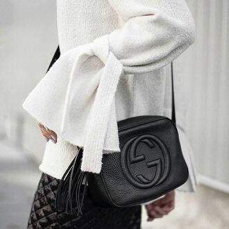 bag tumblr black bag tassel gucci gucci bag sweater white sweater bell sleeves bell sleeve sweater skirt black skirt
