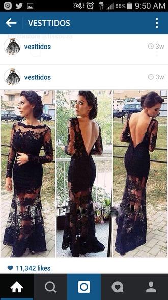 dress black dress lace dress backcutout elegant dress