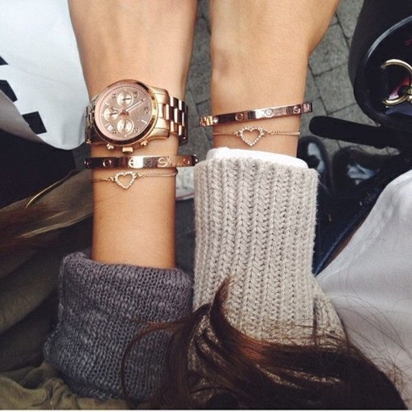 jewels bracelets bbf jewelry fashion gold jewelry heart jewelry gold rose gold michael kors watch sweet cute heart accessories style jewelry bracelets gold bracelet watch stacked bracelets glitter rose gold tumblr