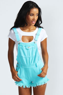 Haley Acid Wash Dungarees at boohoo.com