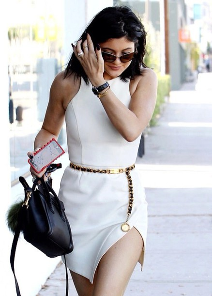dress white dress asymmetrical belt