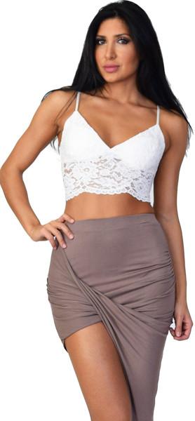 Off White Lace Crop Bralette Top | Emprada