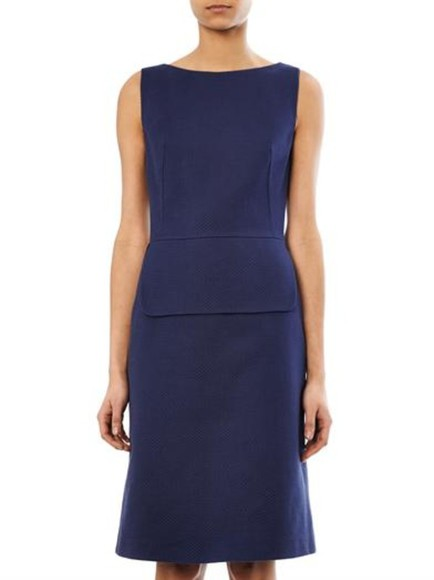 navy dress peplum cotton-twill dress osman knee length dress