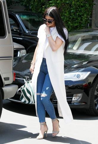 coat vest denim jeans sandals kylie jenner shoes