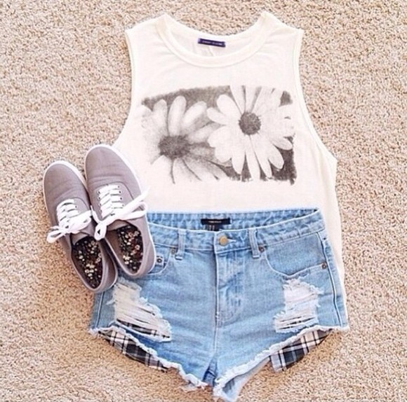 grey shoes cute tumblr white tank top daisy daisys denim shorts denim
