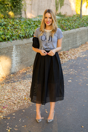 gal meets glam,t-shirt,skirt,jewels,shoes,bag,black midi skirt,midi skirt,organza skirt,black clutch,necklace,blogger,streetstyle,grey t-shirt,slogan t-shirts,leopard print pumps,leopard pumps,leopard heels