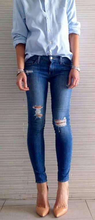 jeans blue shirt blouse denim blue torn jeans jeans blue skinny ripped shoes