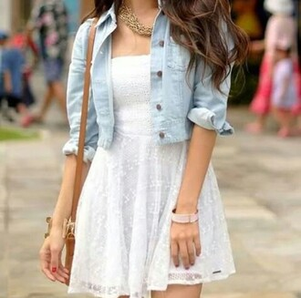 dress blanc sac à main courte blanco robes veste veste en jean dentelle bustier colier volants tule beautiful beautiful white dress white