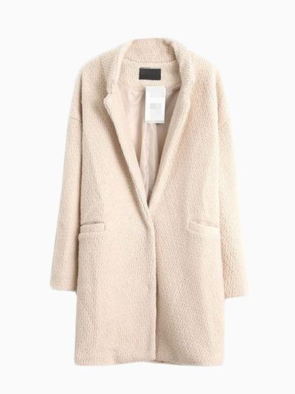 Beige Longline Wool Coat - Choies.com