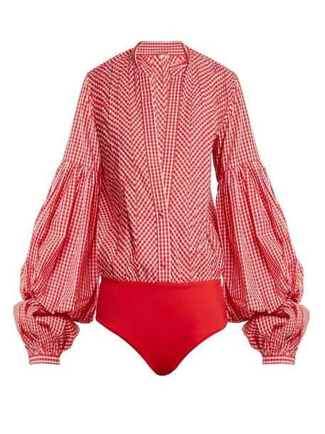 Johanna Ortiz bodysuit cotton gingham white red underwear