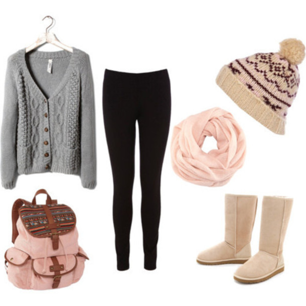 Hat Cardigan Leggings Ugg Boots Winter Hat Beanie