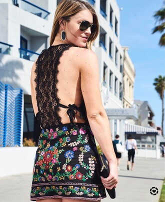 dress tumblr mini dress floral floral dress lace dress open back open back dresses backless sunglasses earrings accessories accessory