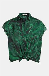 blouse,tropical,forest green,pattern,patterned shirt,button up blouse,button up shirt,button up,short sleeve,Pin up,top,t-shirt,green,plants,flowers,croc top,hipster