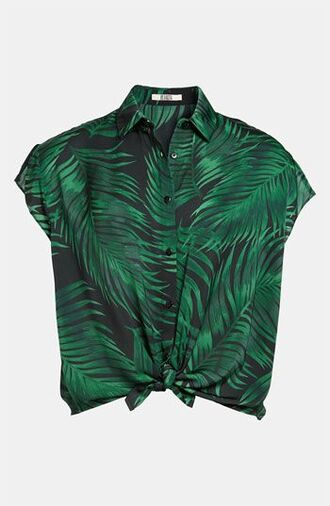 blouse tropical forest green pattern patterned shirt button up blouse button up shirt button up short sleeve pin up top t-shirt green plants flowers croc top hipster