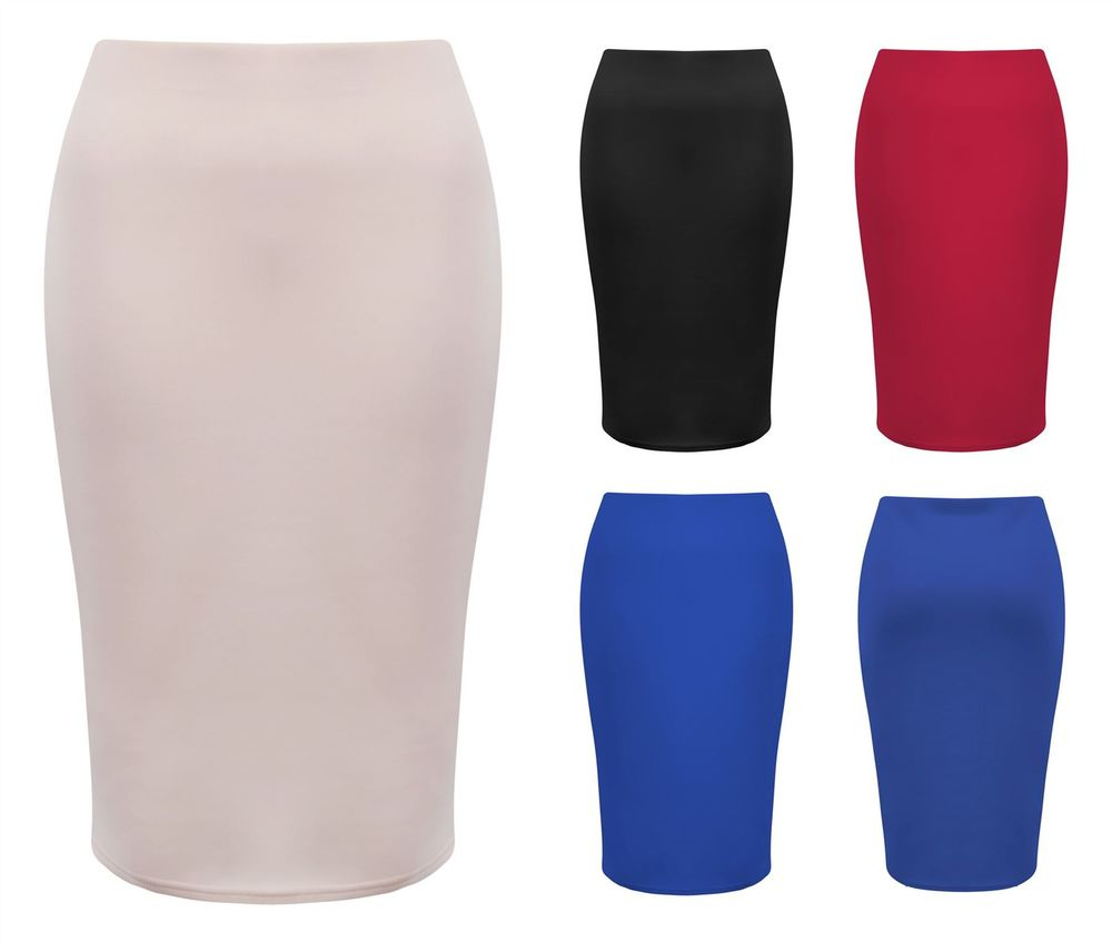 Womens Ladies Plain Stretch Bodycon Pencil Tube Jersey Office MIDI ...