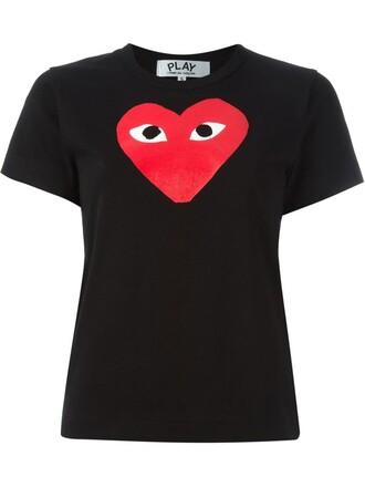t-shirt shirt heart print black top