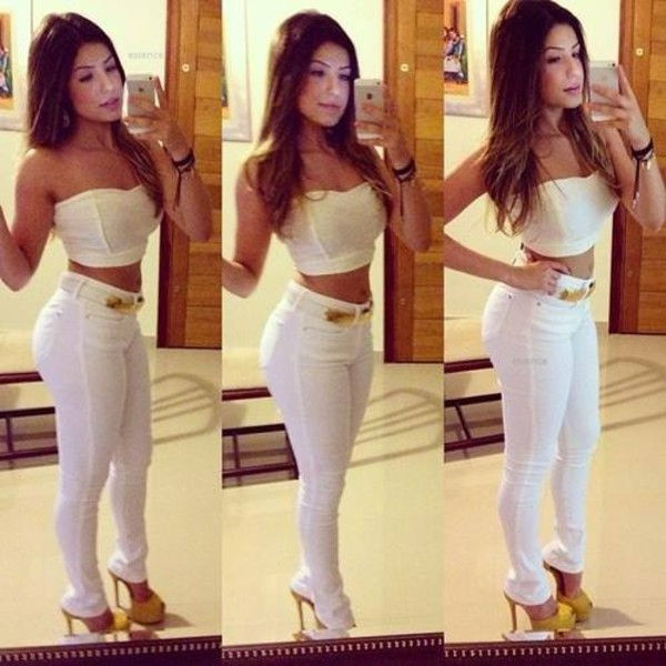jeans white crop tops tank top