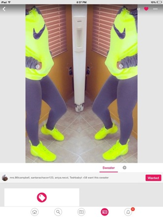 sweater nike nike sweater neon yellow yellow yellow sweater