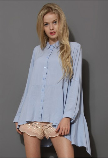 Cool Touch Asymmetric Blouse in Blue - Retro, Indie and Unique Fashion