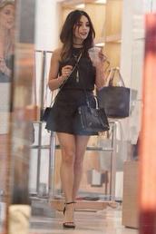 dress,little black dress,simple dress,bag,vanessa hudgens,black,skirt,black skirt,black top,top,shirt,heels,black heels,black bag