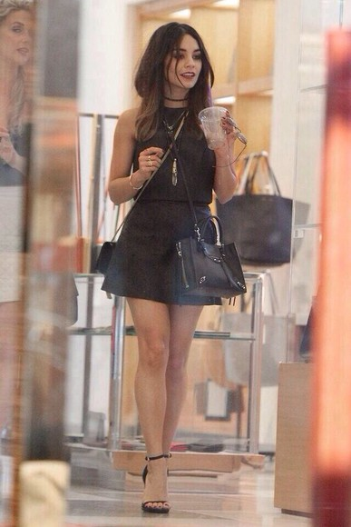 bag black bag black vanessa hudgens skirt black skirt black top top shirt high heels black heels dress little black dress simple dress