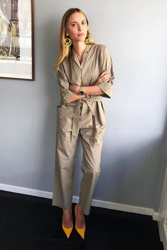 jumpsuit pumps pernille teisbaek blogger pants shirt top earrings spring outfits