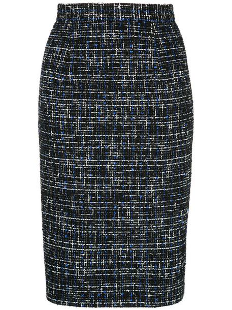 Estnation - tweed midi skirt - women - Cotton/Nylon/Polyester/Wool - 36, Black, Cotton/Nylon/Polyester/Wool