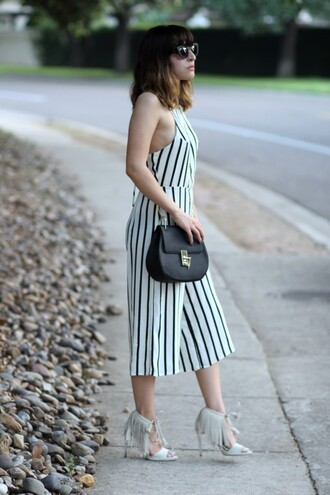 the stylish soul blogger jumpsuit stripes shoulder bag black leather bag cat eye fringe shoes