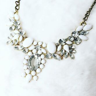 jewels cherry diva white necklace white necklace statement necklace chunky necklace gold necklace