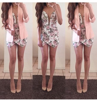 romper jumpsuit outfit summer outfits spring outfits style jacket blazer one piece floral romper nude high heels high heels heels cute outfits cute high heels cute shoes